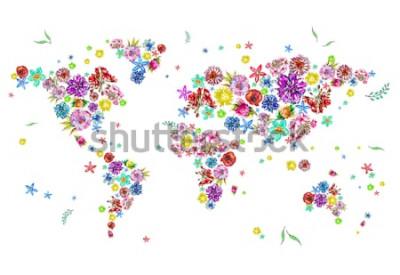Sticker Aquarellillustration der Weltkarte in den Blumen