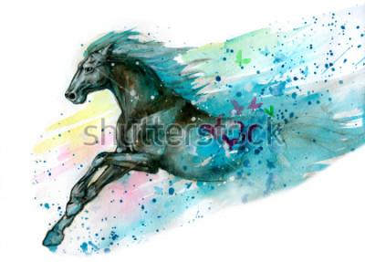 Sticker Aquarellillustration des Pferds. Handgemalt