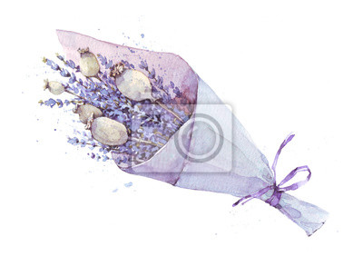 Aquarellillustration eines Blumenstraußes des Lavendels, Provence, Kräuter, Weinlesekarte