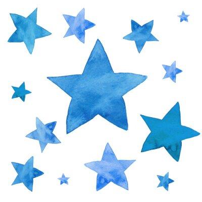 Sticker Aquarellillustration von blauen Sternen eingestellt