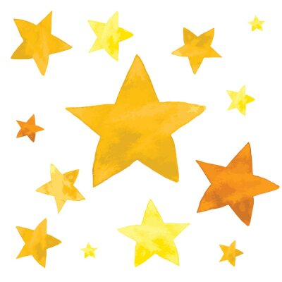 Sticker Aquarellillustration von den gelben Sternen eingestellt
