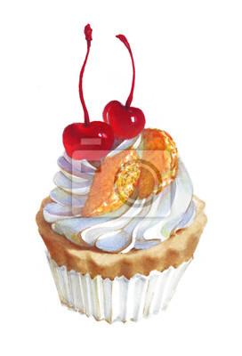 Aquarellkirschkleiner kuchen, Hand gezeichnete köstliche Lebensmittelillustration, lokalisiert auf weißem Hintergrund.