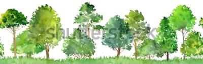 Sticker Aquarelllandschaft mit Laubbäumen, Kiefer, Büschen und Gras, nahtloses Muster, abstrakter Naturhintergrund, Waldgrenze, Hand gezeichnete Illustration