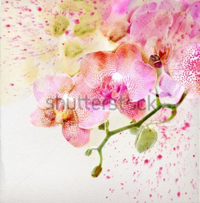 Sticker Aquarellmalerei, Blumenhintergrund