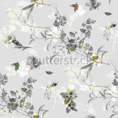 Sticker Aquarellmalerei des Blattes und der Blumen, nahtloses Muster auf grauem Hintergrund