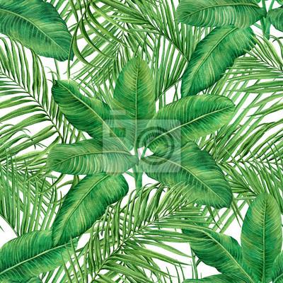 Aquarellmalereikokosnuß, Palmblatt, grüner lassen nahtlosen Musterhintergrund Aquarell gezeichnetes tropisches exotisches Blatt der Illustration drucken für Tapete, Textil-Hawaii-aloha Dschungelartmus