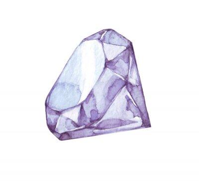 Aquarellskizze des glänzenden Diamanten auf weißem Hintergrund