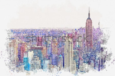 Sticker Aquarellskizze oder Illustration einer schönen Ansicht des New York City mit städtischen Wolkenkratzern. Stadtbild oder urbane Skyline.