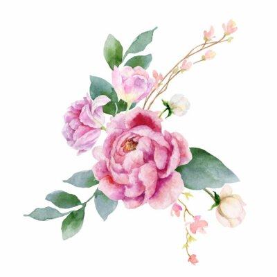 Sticker Aquarellvektor-Handmalereiillustration von Pfingstrosenblumen und von Grünblättern.