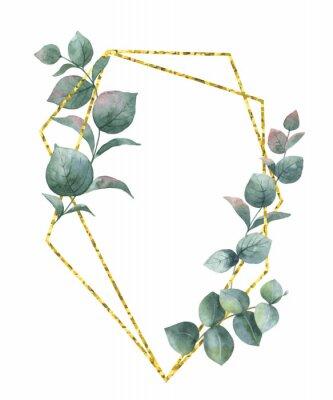 Sticker Aquarellvektorzusammensetzung von den Niederlassungen des geometrischen Rahmens des Eukalyptus und des Goldes.