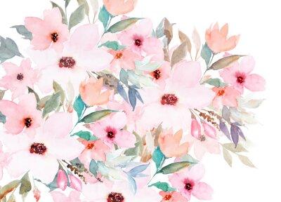 Aquarellvorlage. Blumenkarte