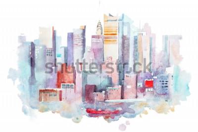 Sticker Aquarellzeichnung von New York Cityscape, USA. Manhattan Aquarellmalerei