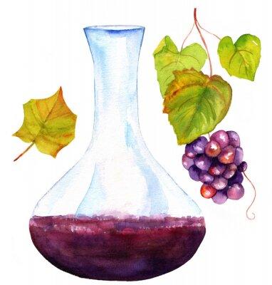 Sticker Aquarellzeichnungen von Wein Dekanter, Weinblatt und Trauben