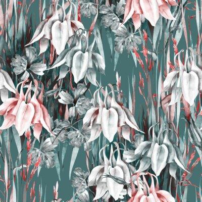 Sticker Aquilegia Flowers Seamless Pattern. Watercolor Background.