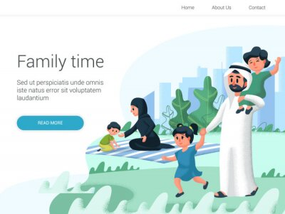 Arabic family playing with children in the park. Cartoon Vector illustration. Family day, celebration.