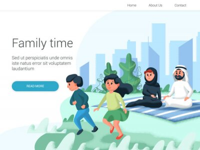 Arabic family spend time with their children in the park. Cartoon Vector illustration. Family day, celebration. Family time weekend.