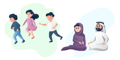 Arabic happy family, father and mother playing with their children. Young parents. Arab healthy couple cartoon characters vector illustration.