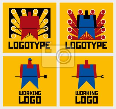 Arbeiter-Firmenzeichen-Gelb. Vektorzeichnung