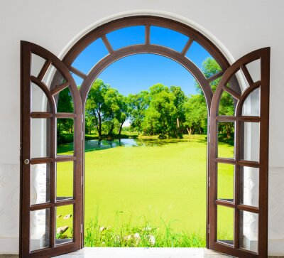 Sticker Arch door open pond