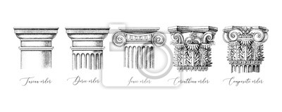 Sticker Architectural orders. 5 types of classical capitals - tuscan, doric, ionic, corinthian and composite