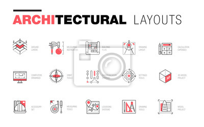 Sticker Architektonische Layouts in modischer polygonaler Linienzusammensetzung. Dünne Ikonen von Gebäuden. Professionelle Projekte Zeichnung. Ehrfürchtige Konturgeometrieart mit Piktogramm der Zukunft für Ih