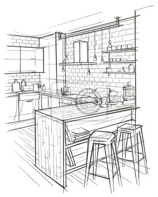 Architektonische Skizze der modernen Küche. Vektor.