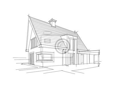 Architektonische Zeichnung eines privat europäischen Hauses. Vektor.
