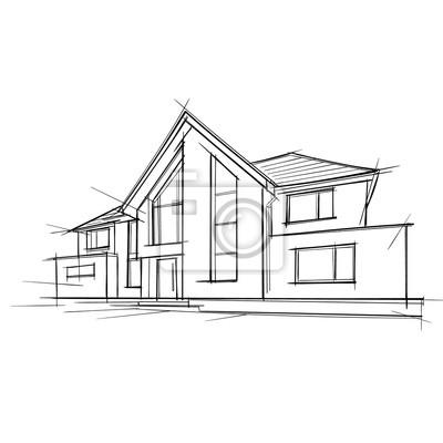 Architektonische Zeichnung eines Privathauses. Vektor.
