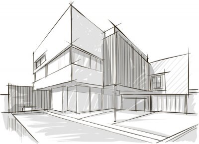 Sticker Architektur-Skizze des Gebäudes