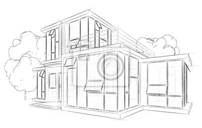 Architektur Skizze Zeichnung Haus Notebook Sticker
