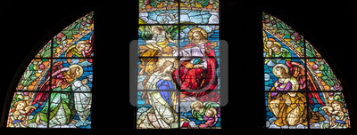 Sticker ARCO, ITALY - JUNE 8, 2018: The Annunciation in the stained glass  in the church Chiesa Collegiata dell'Assunta.