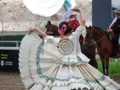 Sticker Argentinian traditional festival with gauchos and paisanas