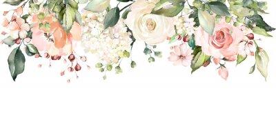 Sticker Arrangements mit Aquarellblumen. Blumenillustration. Botanische Zusammensetzung für Hochzeit oder Grußkarte. Zweig der Blumen - Abstraktion Rosen