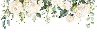 Arrangements mit Aquarellblumen. Blumenillustration. Botanische Zusammensetzung für Hochzeit oder Grußkarte. Zweig der Blumen - Abstraktion Rosen