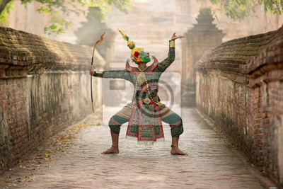 Sticker Art culture Thailand Dancing in masked khon(Mime) in literature ramayana,Tos-Sa-Kan is character in thailand,A mime or mime artist is a person who uses mime as a performance art.