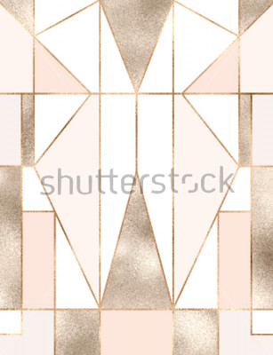 Sticker Art Deco Hintergrund mit geometrischen Formen des Goldfunkelns, Dreiecken, Rechtecken, Linien, Quadraten.