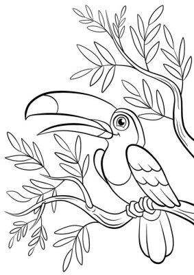 Sticker Art lächelnden netten toucan in einem Wald
