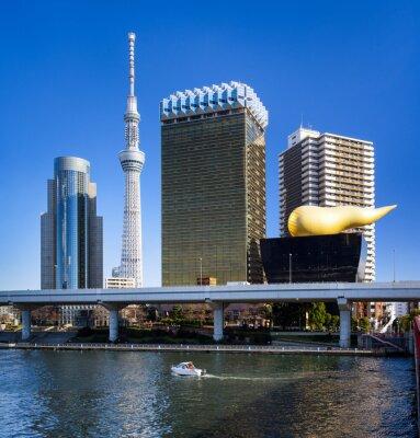 Sticker Asakusa in Tokyo Skyline mit Skytree und Asahi Gebäude