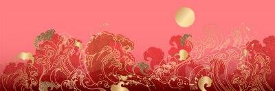 Sticker Asian background ,Oriental Chinese and Japanese style abstract pattern background design  with goldfish and wave decorate in water color texture