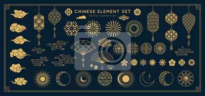 Sticker Asian design element set. Vector decorative collection of patterns, lanterns, flowers , clouds, ornaments in chinese and japanese style.