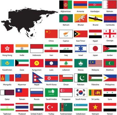 Sticker Asian flags