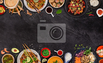 Sticker Asian food background with various ingredients on rustic stone background , top view. Vietnam or Thai cuisine.