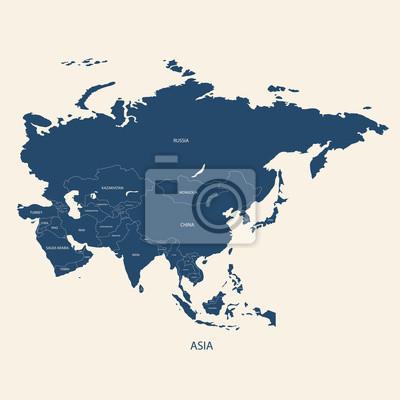 Landkarte Asien Ohne Namen.Sticker Asien Karte Mit Grenzen Und Namen Der Lander