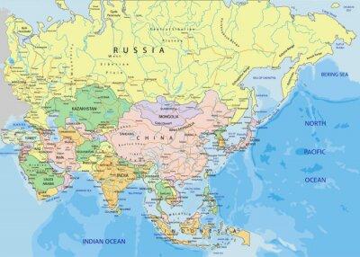 Sticker Asien - sehr detaillierte editierbare politische Karte.