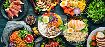 Sticker Assortment of healthy food dishes. Top view. Free space for your text.