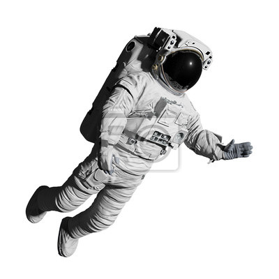 Sticker astronaut during space walk, isolated on white background