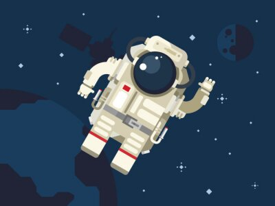 Sticker Astronaut in Outer Space