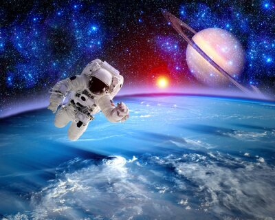 Astronaut Spaceman Saturn Planet