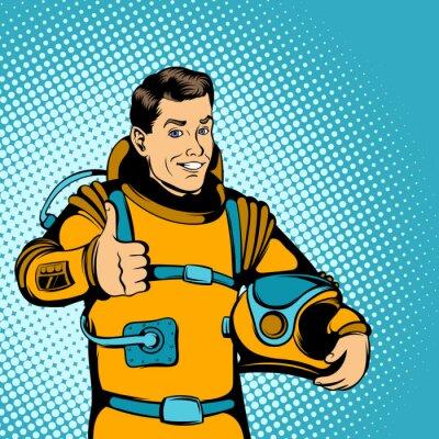 Sticker Astronauten-Konzept, Comic-Stil