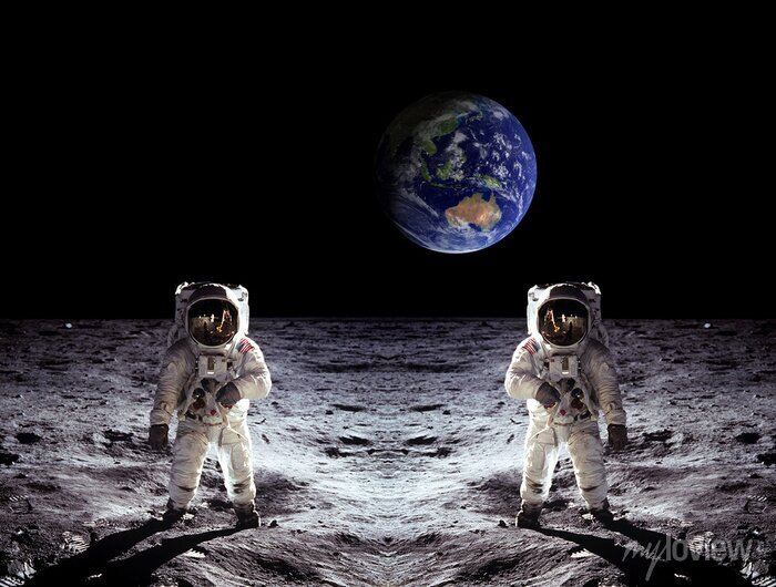 Sticker Astronauten Mond-Landung Erde